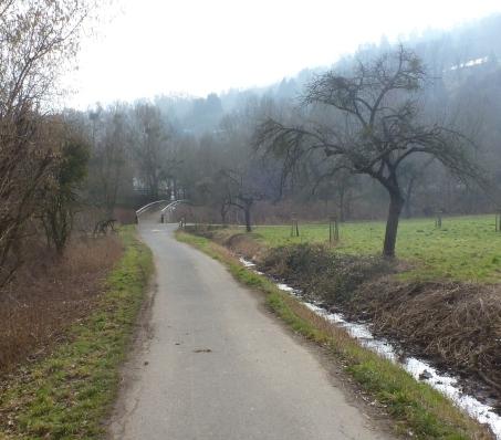 Wanderweg mit Brücke nach Sinzig