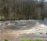 Die Ahr mit Hochwasserwellen